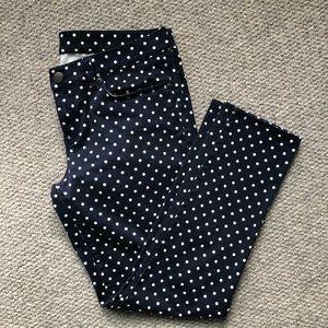 J. Crew navy + white polka dot toothpick jeans
